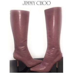 JIMMY CHOO Pink Leather Stiletto Knee High Boots 8